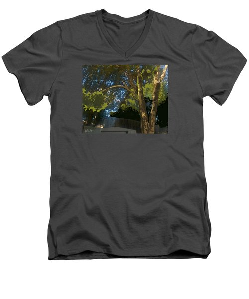 Men's V-Neck T-Shirt featuring the digital art Trees In Park by Walter Chamberlain