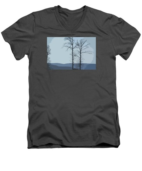 Trees On Blue Men's V-Neck T-Shirt by Donna G Smith