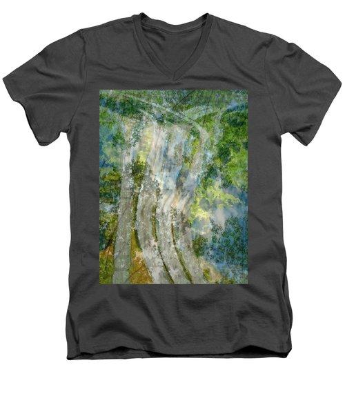 Trees Over Highway Men's V-Neck T-Shirt