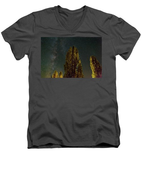 Trees Under The Milky Way On A Starry Night Men's V-Neck T-Shirt