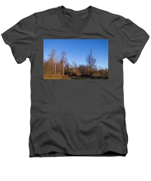 Trees With The Moon Men's V-Neck T-Shirt