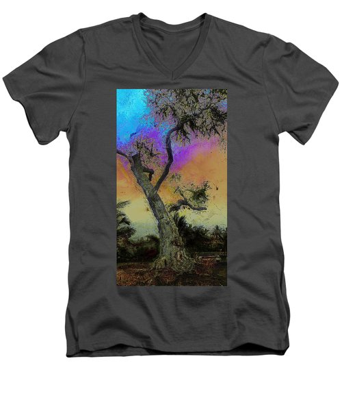 Men's V-Neck T-Shirt featuring the photograph Trembling Tree by Lori Seaman