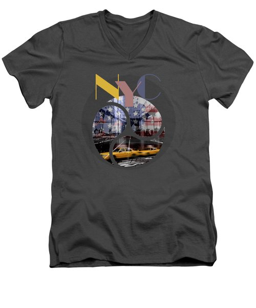 Trendy Design New York City Geometric Mix No 2 Men's V-Neck T-Shirt