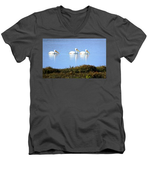 Men's V-Neck T-Shirt featuring the photograph Tres Pelicanos Blancos by AJ Schibig