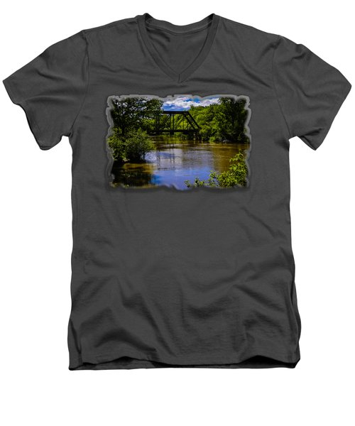Men's V-Neck T-Shirt featuring the photograph Trestle Over River by Mark Myhaver