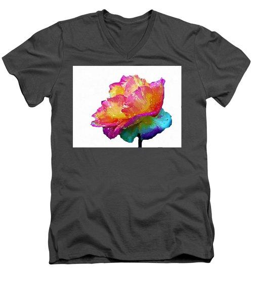 Tri Color Rose Men's V-Neck T-Shirt by Joseph Frank Baraba