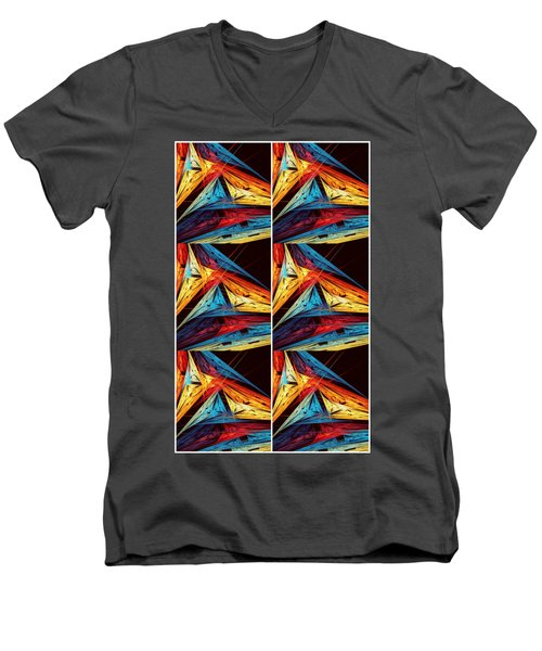 Triangle In Colour Colors Of  Art Men's V-Neck T-Shirt by Sheila Mcdonald