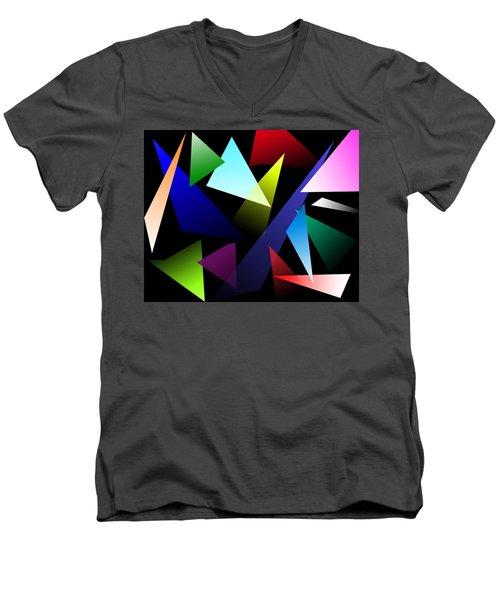 Triangles Men's V-Neck T-Shirt by David Stasiak