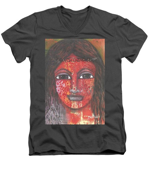 Men's V-Neck T-Shirt featuring the mixed media Tribal Woman by Prerna Poojara
