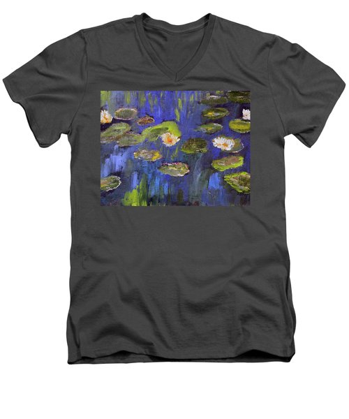 Men's V-Neck T-Shirt featuring the painting Tribute To Monet by Michael Helfen