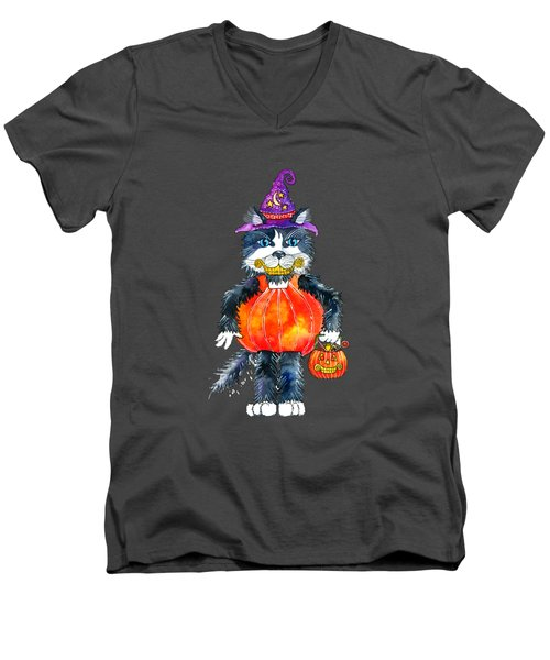Trick Or Treat Men's V-Neck T-Shirt by Shelley Wallace Ylst