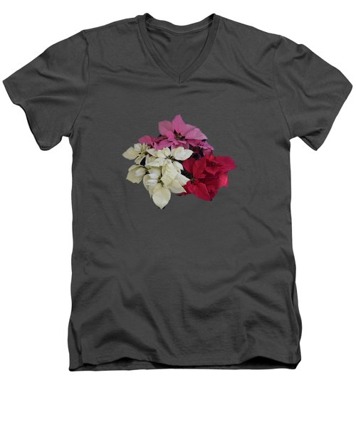 Tricolor Poinsettias Transparent Background   Men's V-Neck T-Shirt