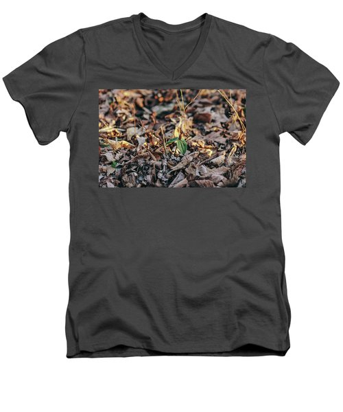 Trillium Blooming In Leaves On Forrest Floor Men's V-Neck T-Shirt