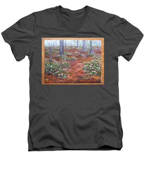 Trilliums After The Rain Men's V-Neck T-Shirt