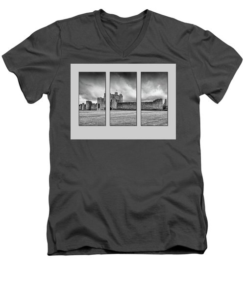 Trim Castle Triptych  Men's V-Neck T-Shirt by Martina Fagan