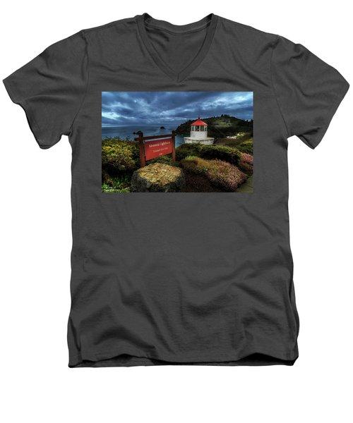 Trinidad Memorial Lighthouse Men's V-Neck T-Shirt by James Eddy