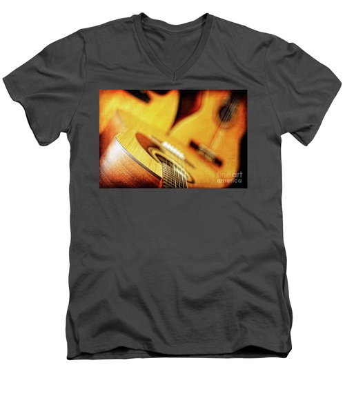 Men's V-Neck T-Shirt featuring the photograph Trio Of Acoustic Guitars by Lincoln Rogers