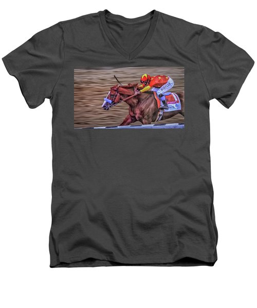 Triple Crown Winner Justify Men's V-Neck T-Shirt