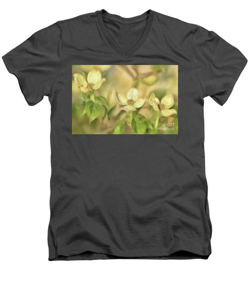 Men's V-Neck T-Shirt featuring the digital art Triple Dogwood Blossoms In Evening Light by Lois Bryan