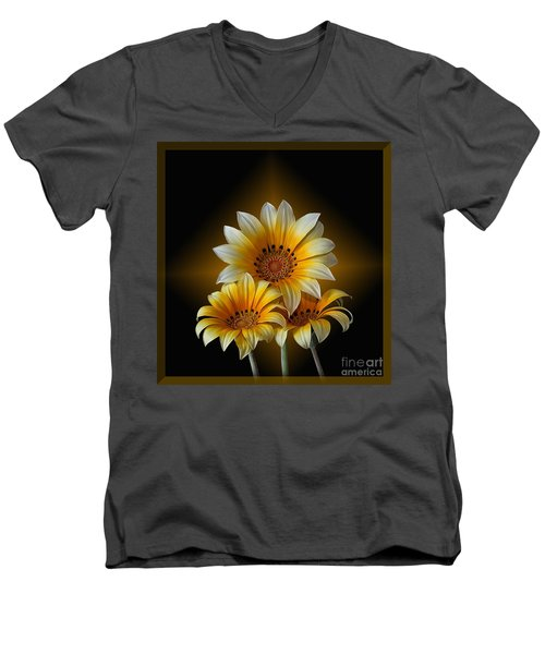 Men's V-Neck T-Shirt featuring the photograph Triple Sunshine Black And Gold by Shirley Mangini