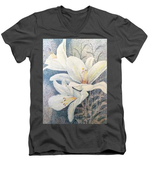 Men's V-Neck T-Shirt featuring the painting Triplefold White by Carolyn Rosenberger