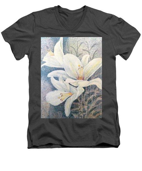 Triplefold White Men's V-Neck T-Shirt