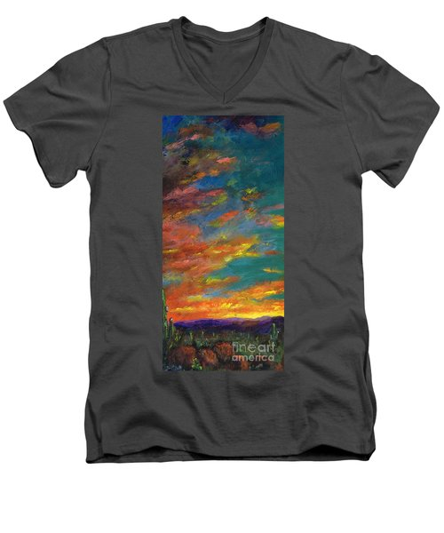 Triptych 1 Desert Sunset Men's V-Neck T-Shirt