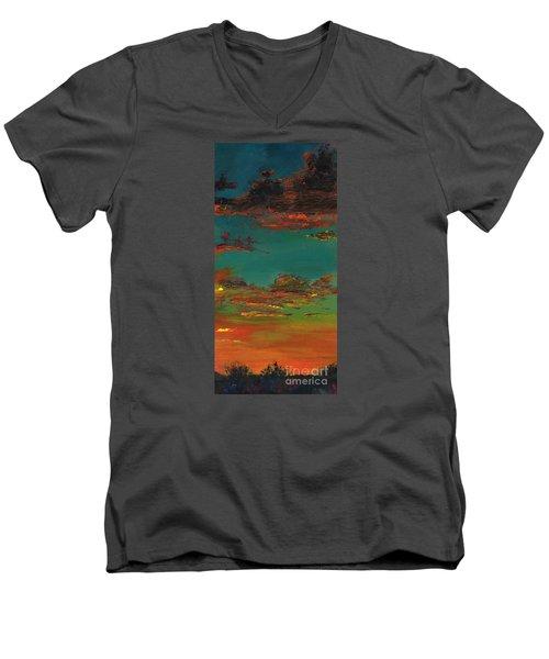 Triptych 3 Men's V-Neck T-Shirt by Frances Marino