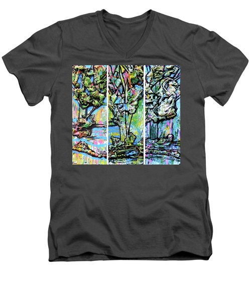 Men's V-Neck T-Shirt featuring the painting Triptych Of Three Trees By A Brook by Genevieve Esson