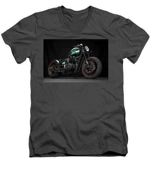 Triumph Green Bobber Men's V-Neck T-Shirt