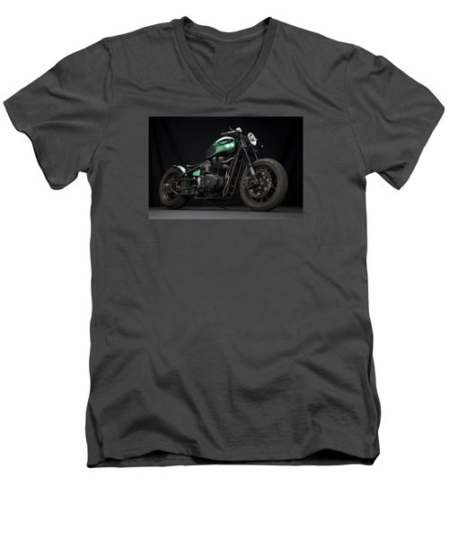 Triumph Green Bobber Men's V-Neck T-Shirt