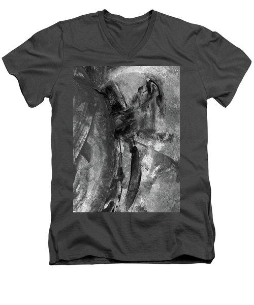 Trojan Horse - Black And White Vertical Painting Men's V-Neck T-Shirt