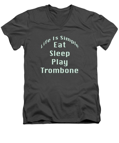 Trombone Eat Sleep Play Trombone 5518.02 Men's V-Neck T-Shirt by M K  Miller