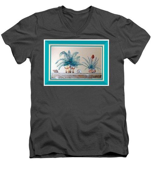 Trompe L'oeil Plants Men's V-Neck T-Shirt