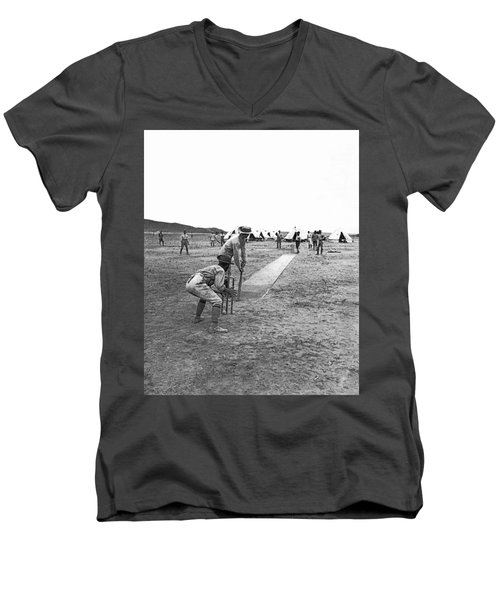 Troops Playing Cricket Men's V-Neck T-Shirt by Underwood Archives