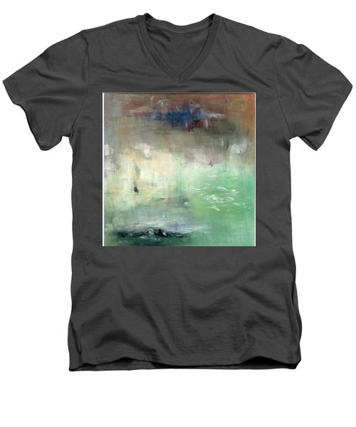 Men's V-Neck T-Shirt featuring the painting Tropic Waters by Michal Mitak Mahgerefteh