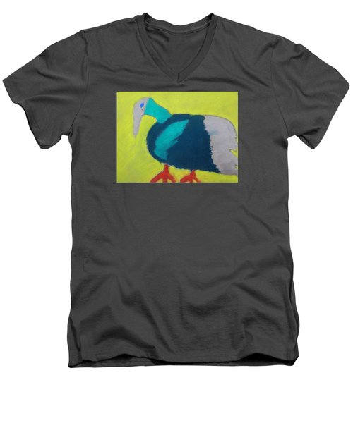 Men's V-Neck T-Shirt featuring the pastel Tropical Bird by Artists With Autism Inc