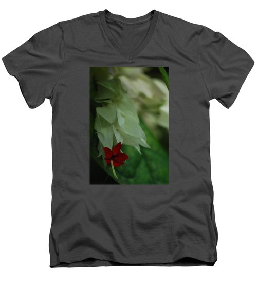 Men's V-Neck T-Shirt featuring the photograph Tropical Bleeding Heart by Ramona Whiteaker