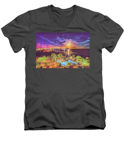 Men's V-Neck T-Shirt featuring the digital art Tropical Dream by Ray Shiu