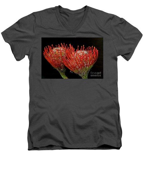 Tropical Flower Men's V-Neck T-Shirt by Elvira Ladocki