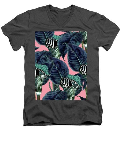 Tropical Flower Pattern Men's V-Neck T-Shirt