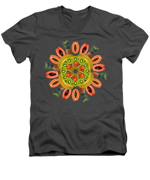 Tropical Fruits Men's V-Neck T-Shirt by Edelberto Cabrera