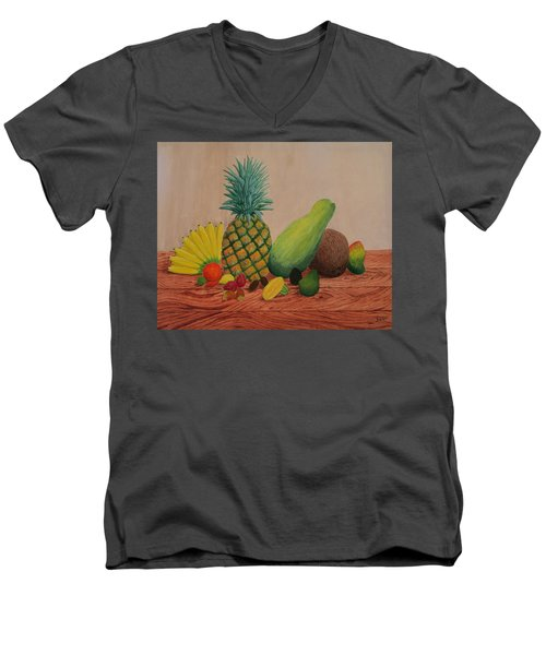 Tropical Fruits Men's V-Neck T-Shirt by Hilda and Jose Garrancho