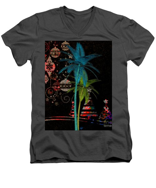 Men's V-Neck T-Shirt featuring the digital art Tropical Holiday Red by Megan Dirsa-DuBois