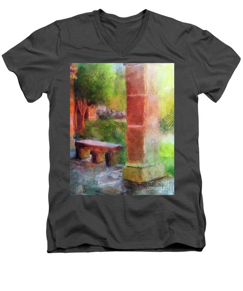 Men's V-Neck T-Shirt featuring the digital art Tropical Memories by Lois Bryan