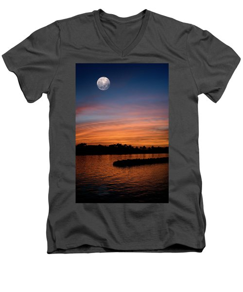 Men's V-Neck T-Shirt featuring the photograph Tropical Moon by Laura Fasulo