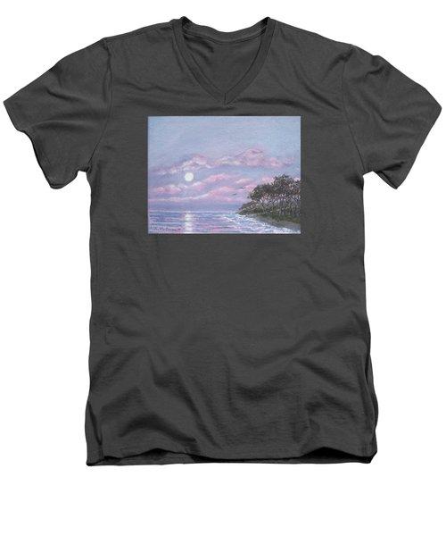 Tropical Moonrise Men's V-Neck T-Shirt by Kathleen McDermott
