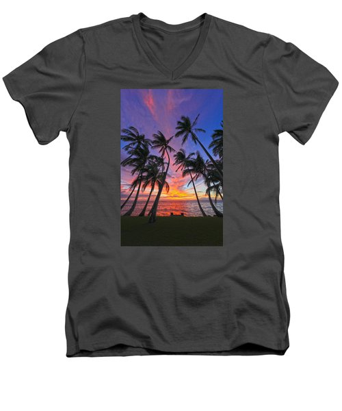 Tropical Nights Men's V-Neck T-Shirt by James Roemmling