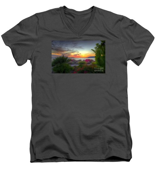 Tropical Paradise Sunset Men's V-Neck T-Shirt