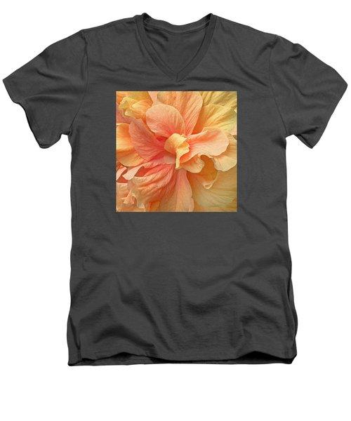Tropical Peach Hibiscus Flower Men's V-Neck T-Shirt by Deborah Smith